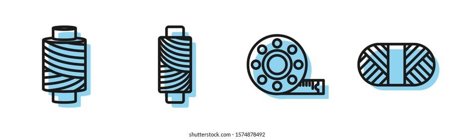 Set line Tape measure, Sewing thread on spool, Sewing thread on spool and Sewing thread on spool icon. Vector