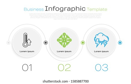 Set line Thermometer, Snowflake and Storm. Business infographic template. Vector