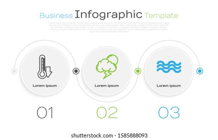 Set line Thermometer, Storm and Waves. Business infographic template. Vector