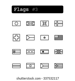Set line thin icons. Vector. Country flags