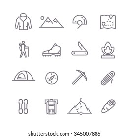 Set of line vector icons on the theme of Climbing, Trekking, Hiking, Mountaineering. Camping. Adventure.Extreme sports, outdoor recreation, adventure in the mountains, vacation. Line art. #2