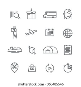 Set of line vector icons on the theme of Logistics, Warehouse, Freight, Cargo Transportation. Storage of goods, Insurance. Modern flat design.