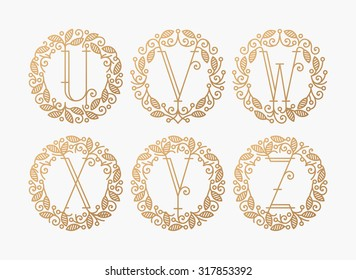 Set of line vector monograms, golden latin letters with floral frame - U, V, W, X, Y, Z.