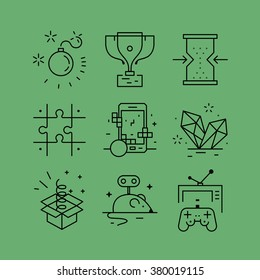Set of line vectors icons in the flat style. Game design, skills and resources, video games,logical thinking, strategy development.