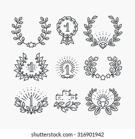 Set of line victory symbols and laurel wreaths. Isolated hipster style winner objects