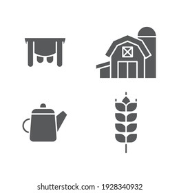 Set line Watering can, Udder, Cereals with rice, wheat, corn, oats, rye and Farm House concept icon.