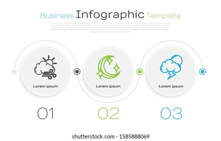 Set line Windy weather, Moon and stars and Storm. Business infographic template. Vector