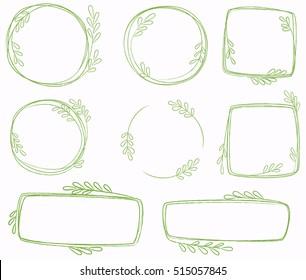 Set of line wreaths, vector