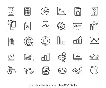 Set of linear analysis icons. Infographic icons in simple design. Vector illustration