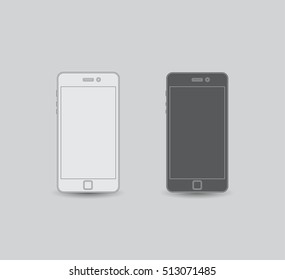 Set of linear cellphones, flat design, stock vector