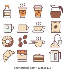 Set of linear colored flat coffee icons
