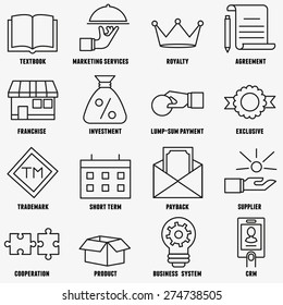 Set of linear franchise icons. Franchise as a successful business model - vector icons