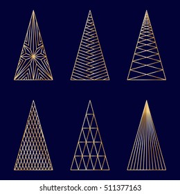 Set of linear graphic stylized Christmas trees on dark blue background