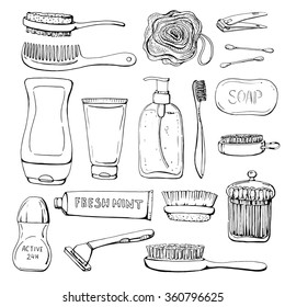 Set of linear hand drawn cosmetics and shower accessories for man. Clean and washing. Sketch. Health and care. Beauty.