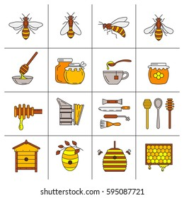 Set of linear icons beekeeping.  Vector illustration.