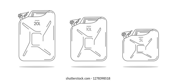 Set of linear icons of canisters, three containers of different litres filling