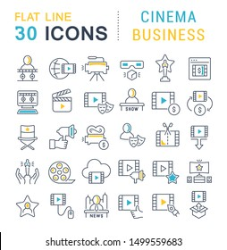 Set of linear icons with colored elements of cinema business for websites, applications and programs