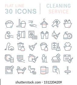Set of linear icons with colored elements of cleaning service for websites, applications and programs