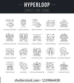 Set of linear icons of hyperloop with names.