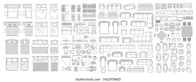 Set of linear icons. Interior top view. Isolated Vector Illustration. Furniture and elements for living room, bedroom, bathroom, kitchen. Floor plan (view from above). Furniture store.