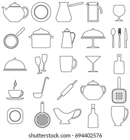 Set of linear icons with kitchen utensils, vector illustration. Black contour on white background.