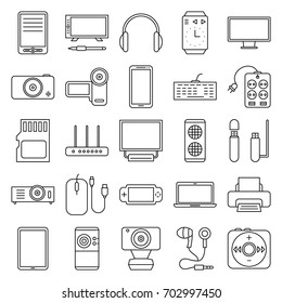 Set of linear icons office, computer and art accessories, electronic devices and gadgets isolated on white background. Elements of design for business, web, advertising, banners. Vector illustration