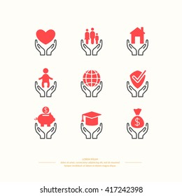 Set of linear icons support and care. Set conceptual icons life insurance and property.