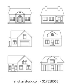 Set of linear illustration of country houses with white background for logos, drawings and your creativity