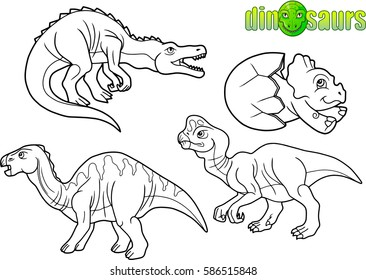 set of linear images dinosaurs