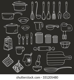 Set of linear kitchen items for cooking eat. Vector isolated doodle illustration on the dark background