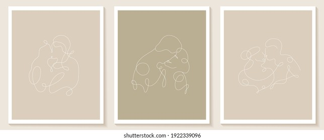 Set linear lovers posters. Continuous linear silhouette of people. Outline hand drawn of avatars . Linear logo in minimal style for beauty salon, makeup artist, stylist