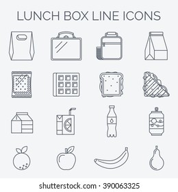 Set of linear lunch icons.