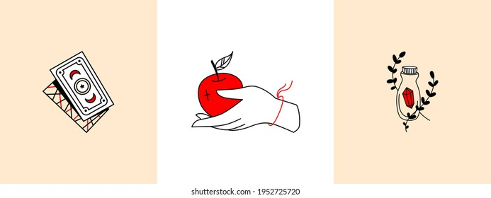 Set of linear magic symbols, logos, female hand, objects, tarot card divination, potions. Logo for womens business, witches. Hand holds an apple, stylized bottle with a magic stone magic card