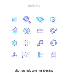 Set of linear outline vector icons of Business. Business finance icons for web sites, illustration for text blocks on the web sites.