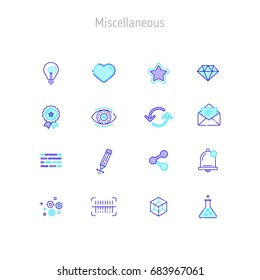 Set of linear outline vector icons of Miscellaneous. Icons for web sites, illustration for text blocks on the web sites.
