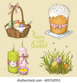 Set with linear sketches. Easter basket with eggs, candles, easter eggs hidden in the grass, easter cake. Handwritten text Happy Easter. Hand drawn vector illustration on textured paper background.