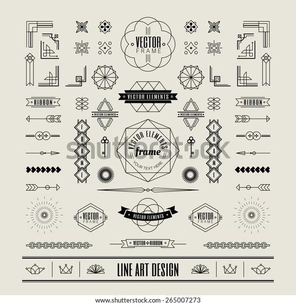 Set of linear thin line art deco retro vintage design elements with frame corner badge in geometric shape