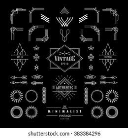 set of linear thin vintage line geometric deco shape art retro with frame corner badge design elements