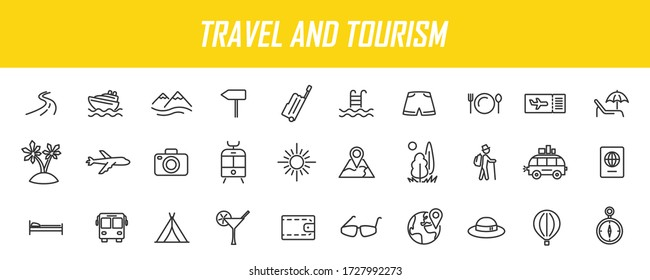 Set of linear travel icons. Tourism icons in simple design. Vector illustration
