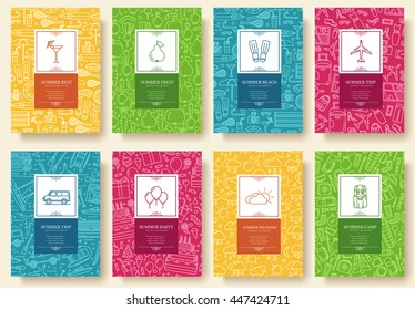 Set of linear travel style concept. Journey element on poster, book, layout abstract, magazines, brochure. Vector thin line vacation tour greeting card or invitation design background illustration