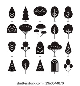 Set of linear trees icons, forest, park and garden tree signs collection
