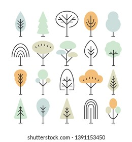 Set of linear trees icons, forest, park and garden tree linear signs collection