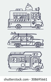 Set of linear vector trendy flat icons on leisure and recreational vehicles including caravan trailer camping truck, retro woodie surf car and ice cream van | Cool thin line contour cars