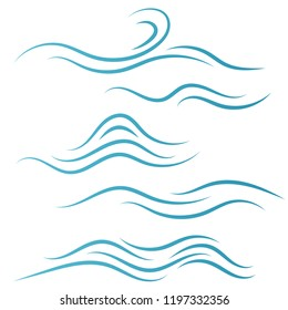 Set of linear water wave elements illustration. Waves line icons. Vector illustration.
