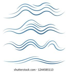 Set of linear water wave elements illustration. Waves line icons. Vector illustration.