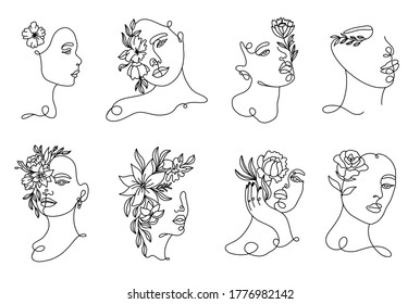 Set linear woman portraits. Continuous linear silhouette of female face. Outline hand drawn of avatars girls. Linear glamour logo in minimal style for beauty salon, makeup artist, stylist.