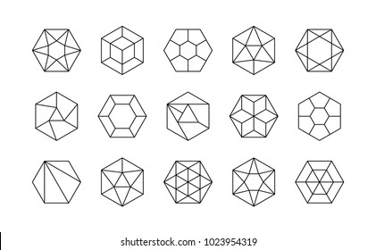 Set of lined isometric hexagonal gems (rubies, diamonds, brilliants, sapphires, stones) in linear sacral geometry style for the game, icon or your company logo