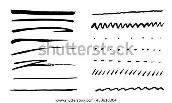 Set of lines, hand drawn, brush strokes. Grunge borders, lines, dots, waves, zig zag lines.