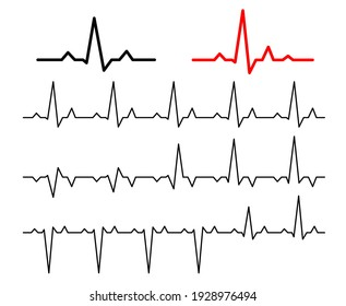 Set Lines heartbeat normal. Line cardiogram heart on white background.  Vector illustration.