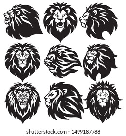 Set of Lion Head Logo Collection. Premium Design Vector Illustration Icons
